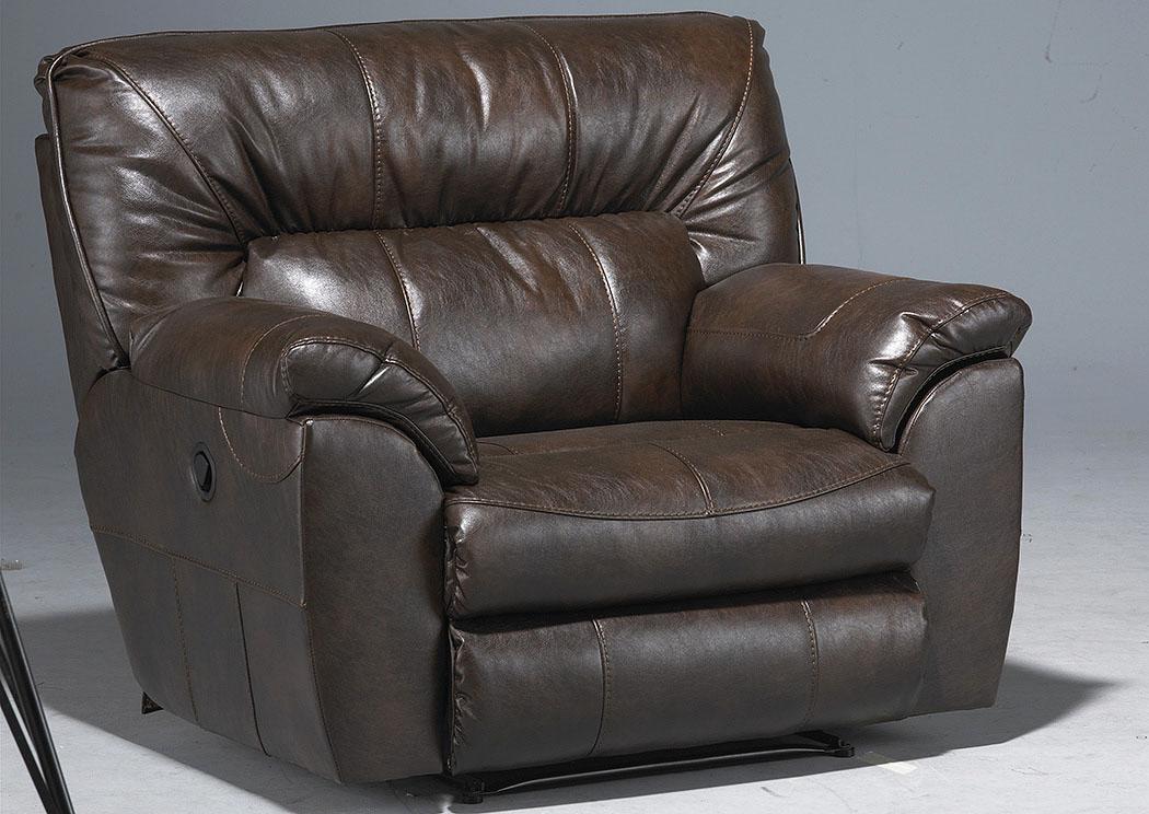 Jarons Nolan Godiva Bonded Leather Extra Wide Cuddler Recliner