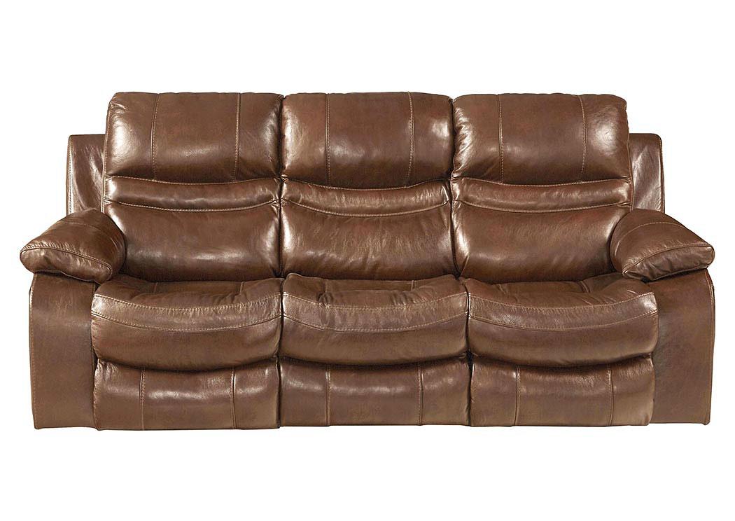 Patton Chestnut Top Grain Leather Power Lay Flat Reclining Sofa,Catnapper