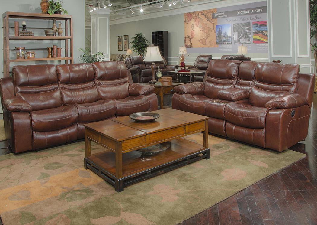 Patton Walnut Top Grain Leather Lay Flat Reclining Sofa U0026 Console  Loveseat,Catnapper