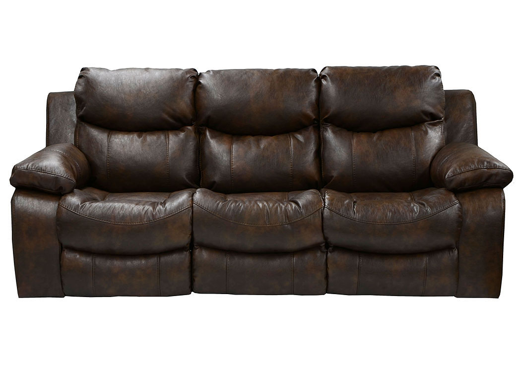 Catalina Timber Bonded Leather Power Reclining Sofa,Catnapper