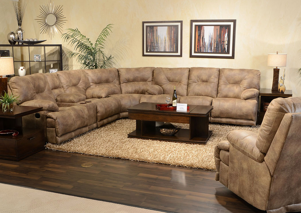Voyager Brandy Power Lay Flat Reclining Sofa Sectional,Catnapper