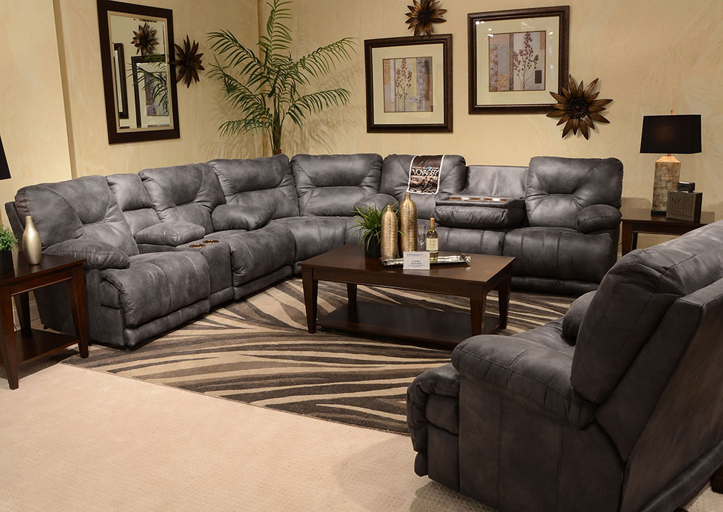 Jarons Voyager Slate Lay Flat Reclining Sofa Sectional