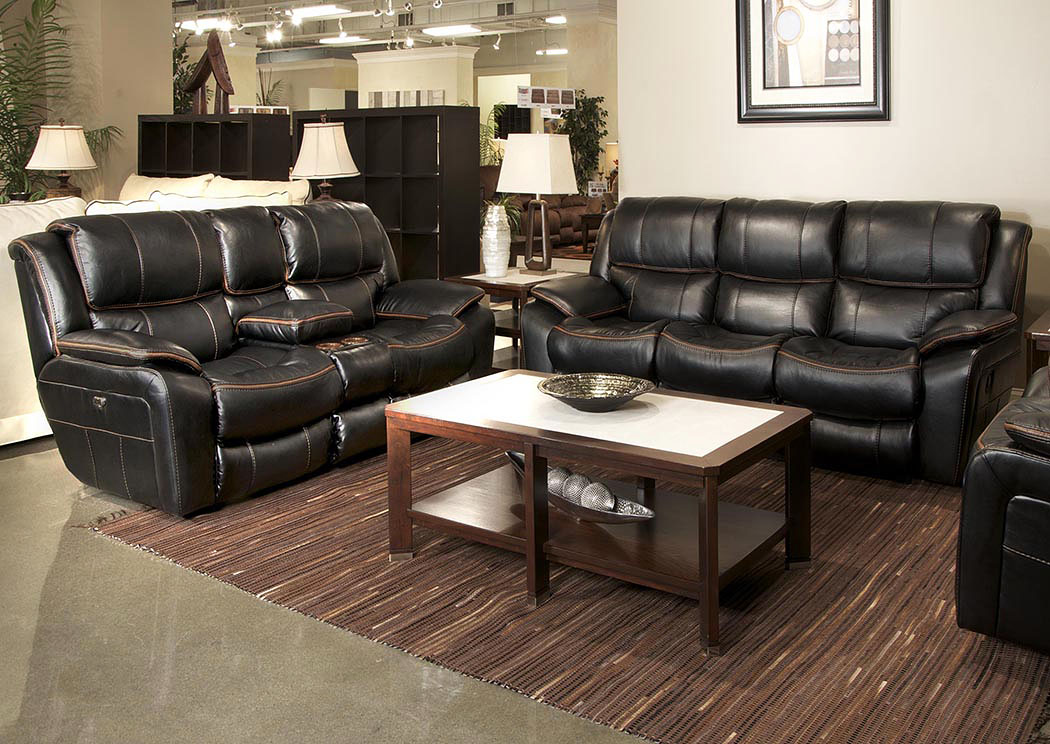 Beckett Black Power Reclining Sofa U0026 Loveseat W/Storage U0026 Cupholders U0026 USB  Port,