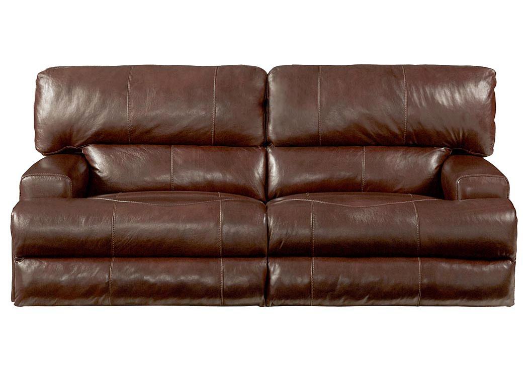 Wembley Walnut Top Grain Leather Lay Flat Reclining Sofa,Catnapper