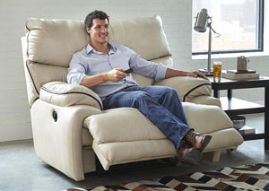 Larkin Buff Power Lay Flat Recliner