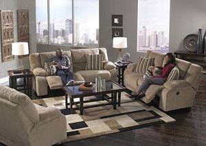 Hammond Coffee/Taupe Power Reclining Sofa & Loveseat w/Storage & Cupholders