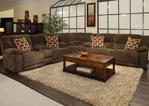 Hammond Mocha/Spice Power Reclining Sectional