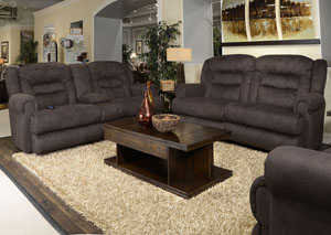 Atlas Sable Reclining Sofa and Console Loveseat w/Storage & Cupholders