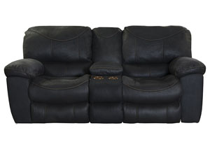 Terrance Black Power Reclining Console Loveseat w/Storage & Cupholders