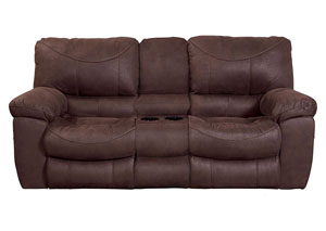 Terrance Chocolate Power Reclining Console Loveseat w/Storage & Cupholders