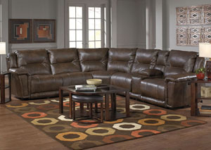 Montgomery Timber Power Lay Flat Recliner Sectional w/USB Console Storage Box