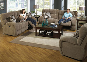 Siesta Porcini/Snickerdoodle Power Lay Flat Reclining Sofa and Console Loveseat w/ Storage & Cupholders