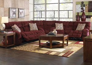 Siesta Wine/Chianti Power Lay Flat Reclining Sofa and Console Loveseat w/ Storage & Cupholders