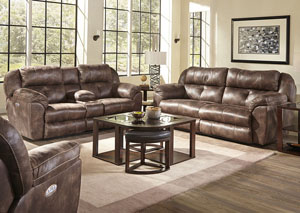 Ferrington Dusk Power Headrest Power Lay Flat Reclining Sofa and Console Loveseat
