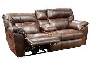 Nolan Godiva Bonded Leather Power Extra Wide Reclining Console Loveseat w/ Storage & Cupholders