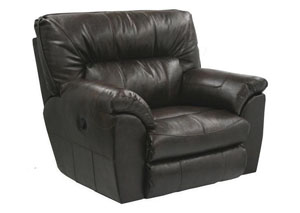 Nolan Godiva Bonded Leather Power Extra Wide Cuddler Recliner