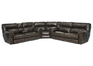 Nolan Godiva Bonded Leather Power Extra Wide Reclining Sectional