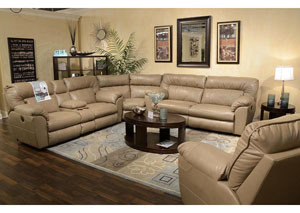 Nolan Putty Bonded Leather Power Extra Wide Reclining Sectional