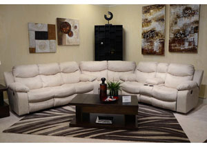 Catalina Ice Bonded Leather Reclining Sectional