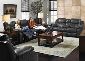 Catalina Steel Bonded Leather Power Reclining Console Loveseat w/ Storage & Cupholders