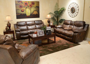 Catalina Timber Bonded Leather Power Reclining Sofa & Console Loveseat w/ Storage & Cupholders