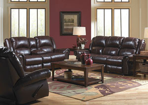 Livingston Redwood Top Grain Leather Dual Gliding Console Loveseat
