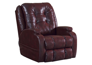 Burgundy Power Lift Lay Flat Recliner w/