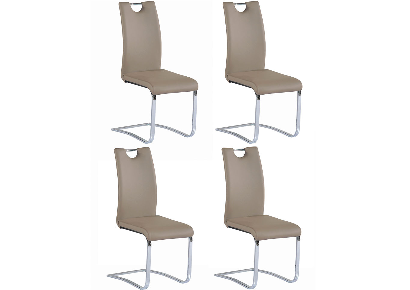 Josephine Taupe Cantilever Handle-Back Side Chair (Set of 4),Chintaly Imports