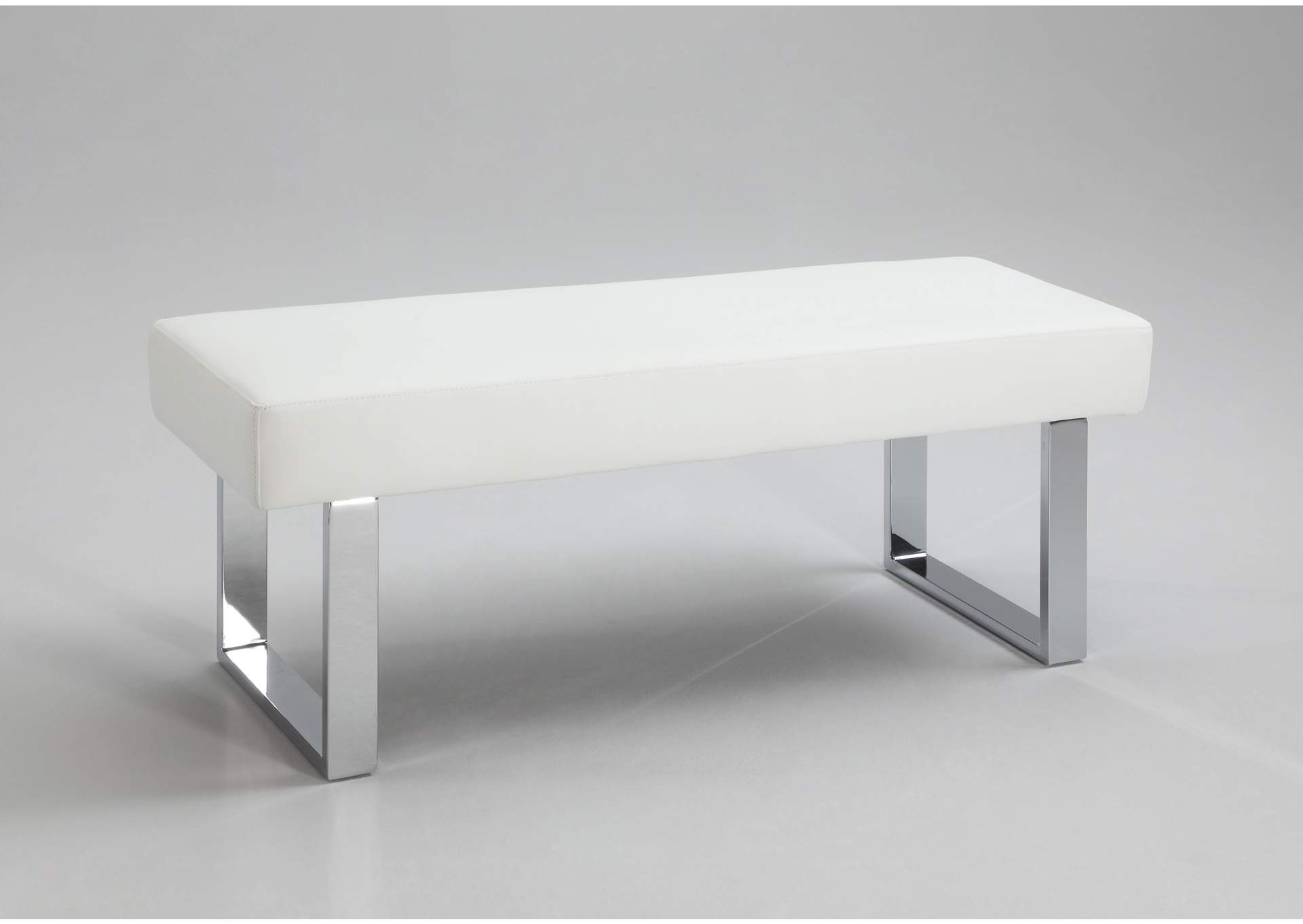 Linden White PU Leather Long Bench,Chintaly Imports