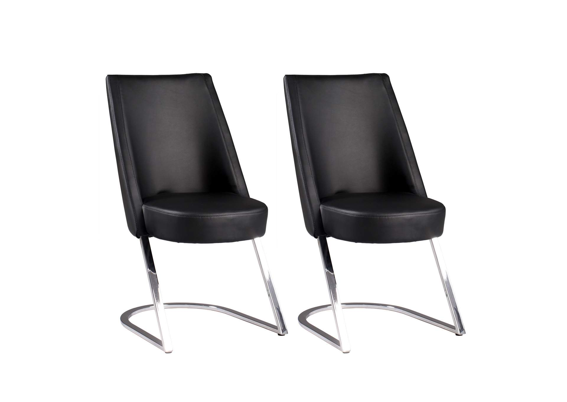 Tami Black Slight Concave-Back Side Chair (Set of 2),Chintaly Imports