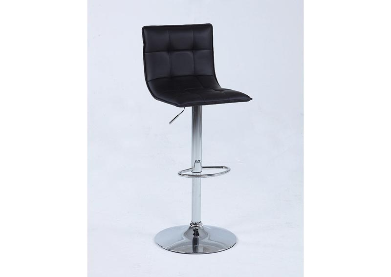 Black Pneumatic Memory Swivel Stool w/Tufted Back