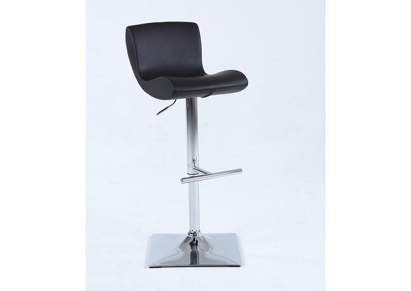 Black Pneumatic Swivel Stool w/Curved Seat & Back