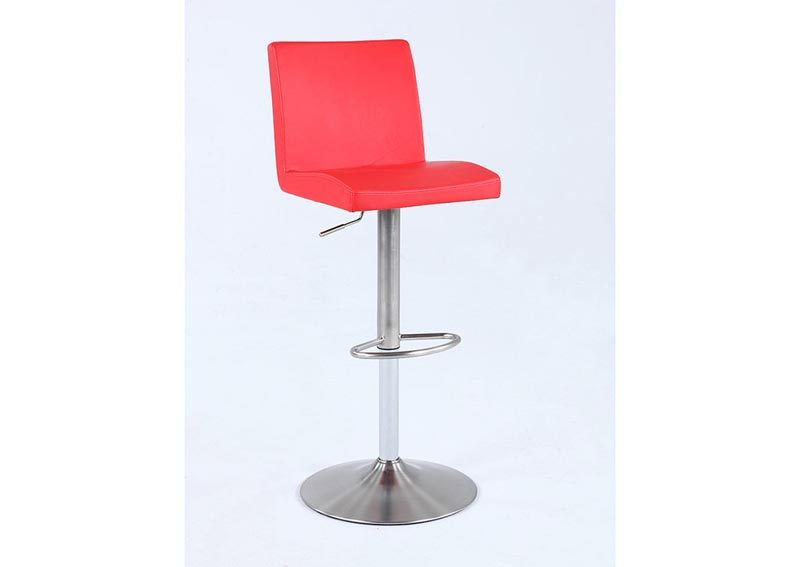 Red Pneumatic Swivel Low Back Stool