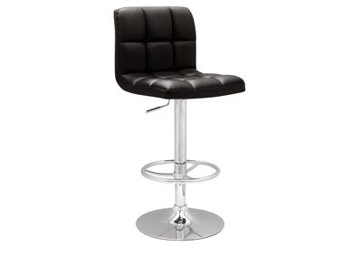 Black Stitched Seat & Back Pneumatic Gas Lift Adjustable Height Swivel Stool