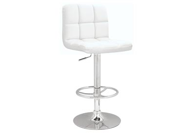 White Stitched Seat & Back Pneumatic Gas Lift Adjustable Height Swivel Stool
