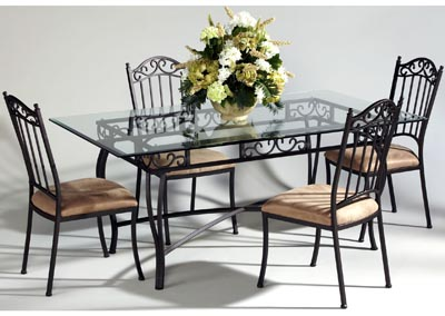 Rectangle Glass Table w/Wrought Iron Base
