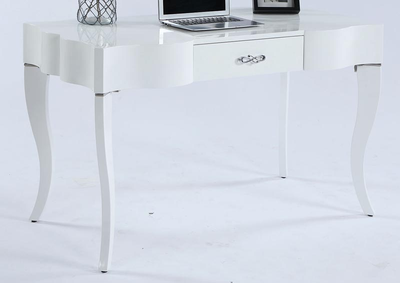 White Cabriolet Leg Computer Desk w/Drawer