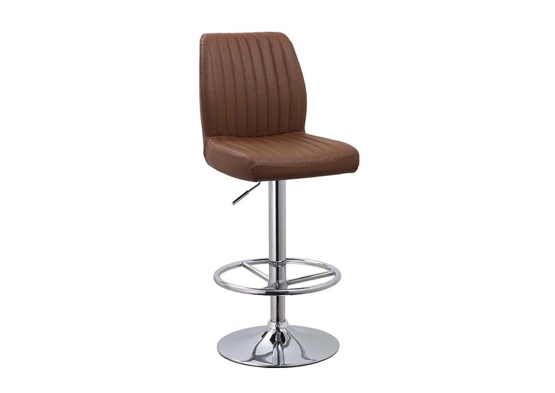 Brown Quilted Adjustable Height Swivel Stool