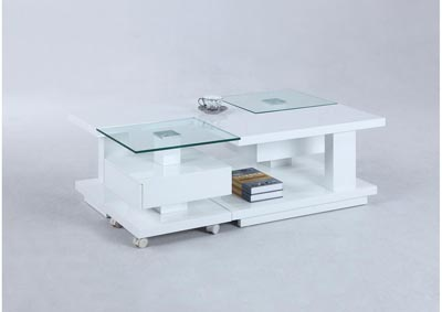 White Gloss Cocktail Table w/Casters