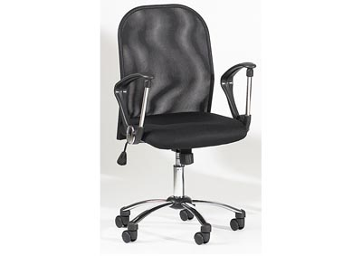 Chrome Height-Adjustable Swivel Computer Chair W/ Mesh Back