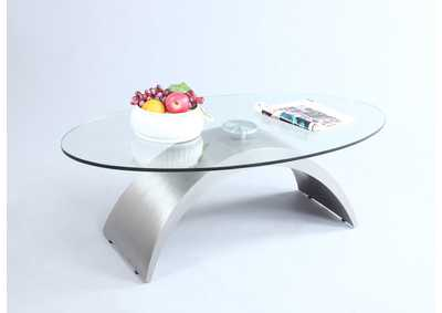 Stainless Steel Oval Glass Top Cocktail Table