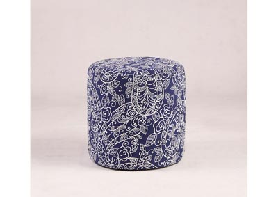 Image for Blue 2-Piece Round Paisley-Pattern Ottoman Set