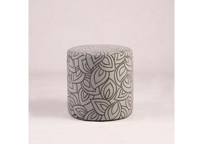 Image for Grey 2-Piece Round Leaf-Pattern Ottoman Set