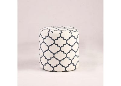 Image for White 2-Piece Round Leaf-Pattern Ottoman Set