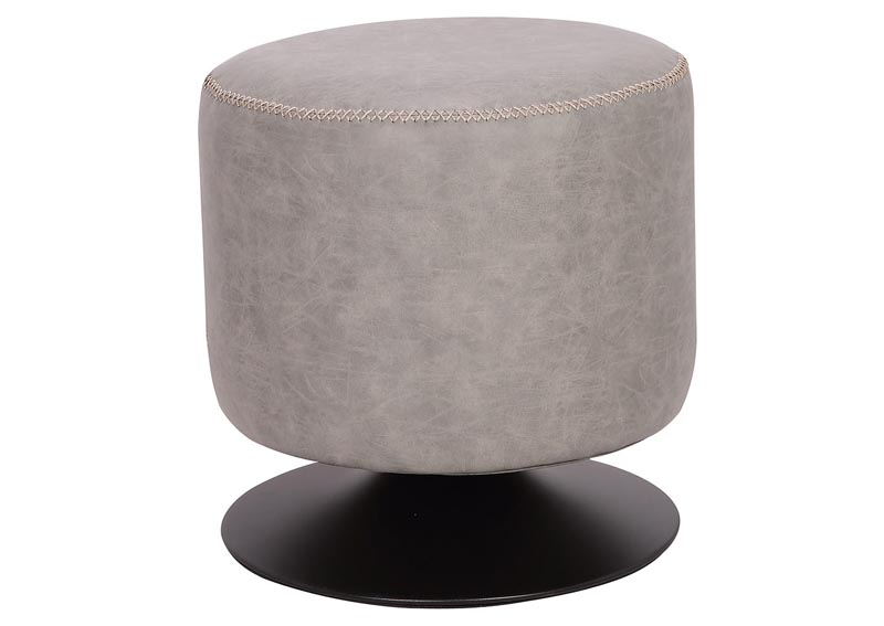 Ash Round Vintage Upholstered Ottoman