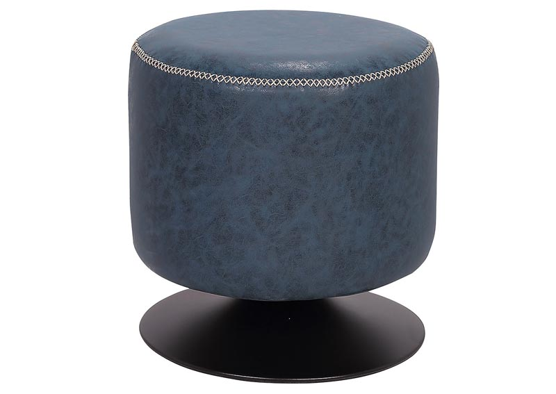 Blue Round Vintage Upholstered Ottoman