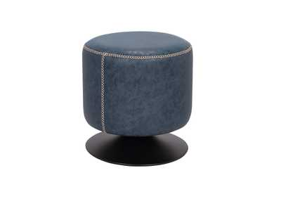 Image for Blue Round Vintage Upholstered Ottoman
