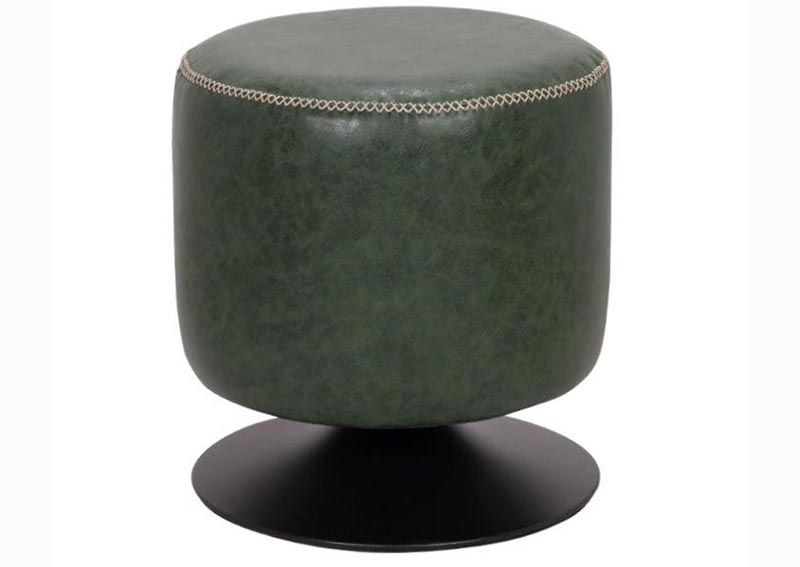 Green Round Vintage Upholstered Ottoman