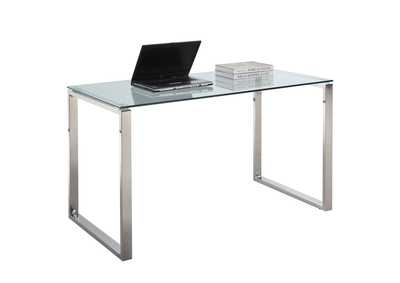 Large Steel/Glass Computer Desk
