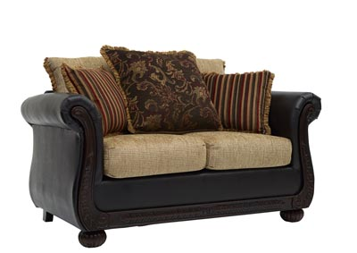 Image for Brown & Cherry Wood Loveseat